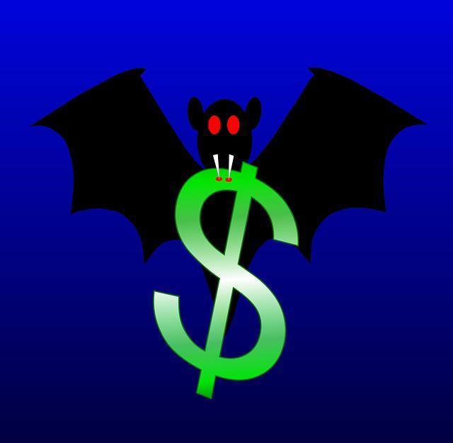 upír, netopýr, symbol dolaru